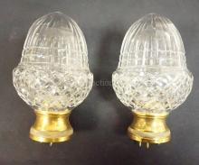 PAIR OF CUT GLASS ACORN FORM NEWEL POSTS W/ BRASS MOUNTS. 7 IN H