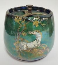CROWN DEVON IRRIDESCENT GREEN HUMIDOR- *PEGASUS* W/ BRASS CLAMP. 6 IN H