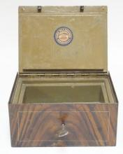 FRIEDR. WILH. BACHMANN, MUNCHEN INSULATED, GRAIN PAINTED STRONG BOX W/ ORIGINAL  9 1/2 IN X 7 1/2 IN, 4 1/2 IN H. HOLE HAS BEEN DRILLED THROUGH THE BOTTOM.
