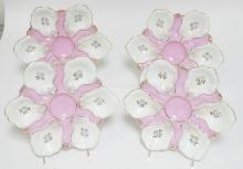 SET OIF 4 HAND PAINTED OYSTER PLATES. PINK AND GOLD DEC. 9 1/4 IN