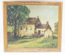 FRAMED O/C OF A COUNTRY HOUSE SIGNED S. OLSHANSKA, 34. 26 IN X 22 IN (STEPHANIE)