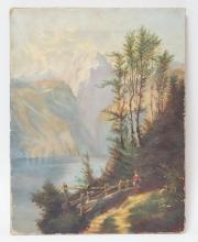 UNFRAMEDC O/C LANDSCAPE W/ MOUNTAINS, LAKE AND WOMAN ON A PATH IN THE FOREGROUND. 10 IN X 13 IN