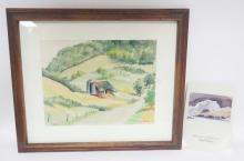 FRAMED FARM SCENE WATERCOLOR BY ADOLF DEHN. COMES WITH A BOOKLET ILLUSTRATING HIS WORK FROM HIRSCHL ADLER GALLERIES, NEW YORK.. 15 1/2 IN X 12 1/4 IN