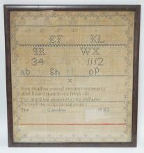 FRAMED SAMPLER BY CAROLINE BALLEY, 1832. 16 1/4 IN X 18 IN