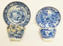 2 DIFFERENT EARLY 19TH C BLUE TRANSFER HANDLELESS CUPS W/ DEEP SAUCERS. ONE HAS SHEEP THE OTHER COWS. LARGEST SAUCER 6 1/4 IN