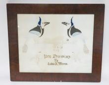 FRAMED PEN DRAWING BY LUDIA E. MORSE. BIRDS. 15 1/4 IN X 12 1/4 IN