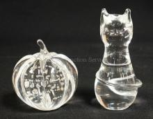 SILVERBROOK BY VANDERMARK CRYSTAL CAT AND PUMPKIN. TALLEST 5 IN