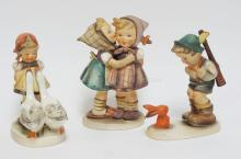 GROUP OF 3 HUMMEL FIGURES. TALLEST 5 1/2 IN