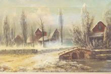 FRAMED O/C SIGNED CAPOUL. SNOW COVERED VILLAGE, STREAM AND BRIDGE. 18 IN X 12 IN