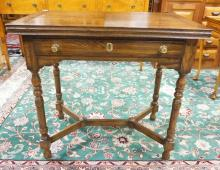 PENNSYLVANIA HOUSE FLIP TOP 1 DRAWER DINING TABLE. TABLE TOP MEASURES 40 X 32 IN. 29 1/2 IN TALL.