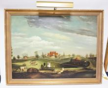 FRAMED CHELSEA HOUSE REPRODUCTION FROM WINTERTHUR MUSEUM- *PERRY HALL*. 40 IN X 30 IN