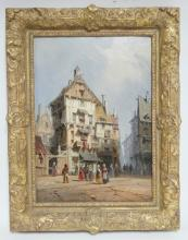 OIL ON BOARD OF A CONTINENTAL STREET SCENE. SIGNED *JAMISON*. 8 3/4 X 12 1/4 IN.