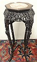 CARVED ORIENTAL STAND W/INSET BROWN MARBLE TOP