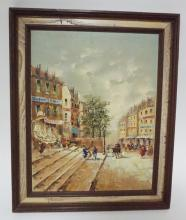FRAMED OIL ON ARTIST BOARD. BUSY CITY STREET SCENE. UNSIGNED. 12 IN X 15 1/2 IN