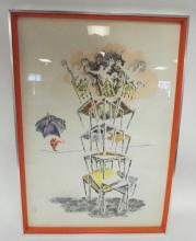 FRAMED ARTIST SIGNED PRINT TITLED *IN BALANCE*. TURNER WALL ACCESSORY. 21 IN X 30 3/4 IN