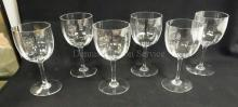 SET OF 6 SIGNED BACCARAT GOBLETS W/ RIBBED BOWLS. 7 IN H