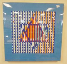 OP ART LIM ED PRINT- STAR OF DAVID. SIGNED AGANS (?) HAS PERSONAL INSCRIPTION  NO. 83 OF 180. PENCIL SIGNED. IN A LUCITE FRAME 23 3/4 IN SQUARE OVERALL.