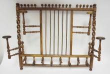 OAK STICK AND BALL HANGING HAT RACK W/ OPEN TWIST SIDE POSTS. 30 1/2 IN X 27 IN
