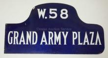 VINTAGE ENAMELED NEW YORK CITY STREET SIGN. GRAND ARMY PLAZA & W.58TH ST. DOUBLE SIDED. 21 3/4 X 11 5/8 IN.