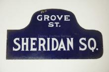 VINTAGE ENAMELED NEW YORK CITY STREET SIGN. SHERIDAN SQUARE & GROVE ST. DOUBLE SIDED. 21 3/4 X 11 5/8 IN.