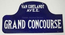 VINTAGE ENAMELED NEW YORK CITY STREET SIGN. GRAND CONCOURSE & VAN CORTLANDT AVE. E. DOUBLE SIDED. 21 3/4 X 11 5/8 IN.