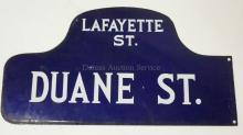 VINTAGE ENAMELED NEW YORK CITY STREET SIGN. DUANE ST. & LAFAYETTE ST. DOUBLE SIDED. 21 3/4 X 11 5/8 IN.