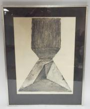 FRAMED ARTIST PROOF ABSTRACT PRINT BY FRAN BRUNETTO, 1967. 18 1/2 IN X 24 1/2 IN. PENCIL SIGNED