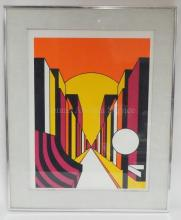 FRAMED LIM ED OP ART PRINT BY FRAN DE BELLAS, 1970. TURNER LIM ED COLLECTION. NO. 31 OF 300. PENCIL SIGNED. ARTIST'S BIO ON REVERSE. 12 IN X 15 1/2 IN