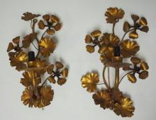 PAIR OF WROUGHT IRON FLORAL SCONCES. ELECTRIC. 14 IN H
