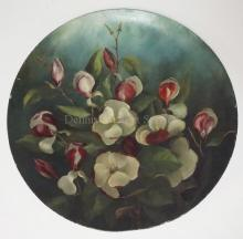 HAND PAINTED PAPER MACHE LARGE TRAY W/ MAGNOLIAS. HAS PARTIAL PAPER LABEL. PAT. AUG. 31, 1880. 21 3/4 IN DIA