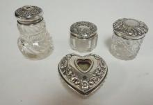 4 CUT GLASS DRESSER PIECES W/ STERLING SILVER TOPS. POWDER SHAKER AND 3 BOXES. TALLEST 2 1/2 IN  .99 TOTAL T OZ