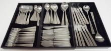 67 PC NORSTAAL, NORWAY *MAYA* PATTERN STAINL;ESS FLATRWARE SET. BREAKDOWN AVAILABLE.