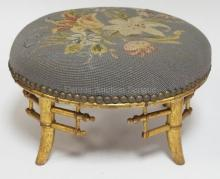 GILTWOOD AND NEEDLEPOINT SMALL ROUND STOOL. 12 1/4 IN DIA, 7 IN H
