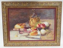 FRAMED O/C STILL LIFE SIGNED ROSY (?). FOOD AND JUG OF WINE ON A TABLE. 27 1/4 IN X 19 1/4 IN