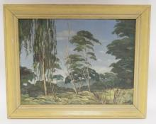 FRAMED O/C LANDSCAPE SIGNED ST. 1932. 21 1/4 IN X 16 IN