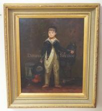FRAMED O/C OF A BOY W/ A HORSE PULL TOY SIGNED JAMES COLMAN. 20 IN X 24 1/2 IN