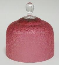 BLOWN FLINT CRANBERRY OVERSHOT DOME COVER FOR CHEESE OR BUTTER. 6 1/4 IN DIA, 6 1/2 IN H