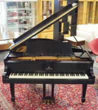 STEINWAY AND SONS BLACK LACQUER BABY GRAND PIANO. MODEL NO. 4-20 M 1408. SERIAL NO. 207676