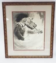 FRAMED WATERCOLOR OF A VIOLINIST IN BLACK AND WHITE. ARTIST SIGNED AND DATED 2/9/67. 10 1/2 IN X 13 1/2 IN