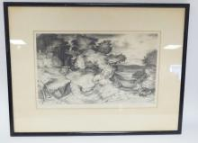 FRAMED PRINT BY CHARLES LOCKE. LANDSCAPE W/ HOUSE AND RR CAR. PENCIL SIGNED *25 PRINTS*. 15 1/4 IN X 9 1/2 IN