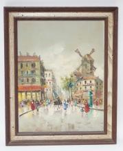 FRAMED OIL ON ARTIST BOARD. CONTINENTAL STREET SIGN W/ WINDMILL. 12 IN X 15 1/2 IN