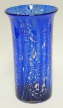 LARGE CONTEMPORARY ART GLASS VASE SIGNED QUAZAR. COBALT BLUE FRIT ON CLEAR GLASS W/ APPLIED COLORED GLASS STRIPES, SILVER FLECKS, ETC. 12 1/4 IN H