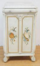 PAINT DECORATED MUSIC CABINET WITH BALL & CLAW FEET. 21 X 16 IN & 39 IN TALL.