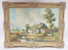 FRAMED O/C OF A COUNTRY COTTAGE SIGNED ANTON MULLER. 28 1/2 IN X 20 1/4 IN