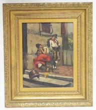 OIL ON MASONITE SIGNED *A. LELOIR* OF A FRENCH MAN & WOMAN NEXT TO A BUILDING. 11 X 14 1/4 IN.