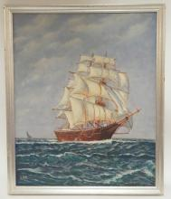 OIL ON MASONITE OF A SHIP AT SEA. SIGNED (CH)? *SWETT*. 18 X 22 IN.