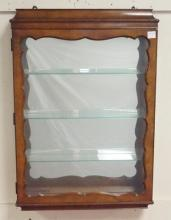 HANGING CABINET WITH MIRRORED BACK & GLASS SHELVES. 22 X 32 IN AND 5 IN DEEP.