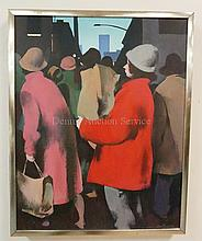 SERGE HOLLERBACH (RUSSIAN, B. 1923); SHOPPERS II; OIL ON PANEL; 19 IN X 24 IN; FINDLAY GALLERY LABEL VERSO