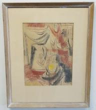 MODERNIST PAINTING, SIGNED LEVIN; WATERCOLOR AND INK ON PAPER OF WOMAN STANDING BY A TABLE; 11 IN X 14 1/2 IN; DATED 1958