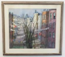 S.A. WHITNEY WATERCOLOR ON PAPER; NEW YORK SCENE W/BACKYEARDS OF TENAMENTS; 22 IN X 26 IN; SIGNED LOWER LEFT